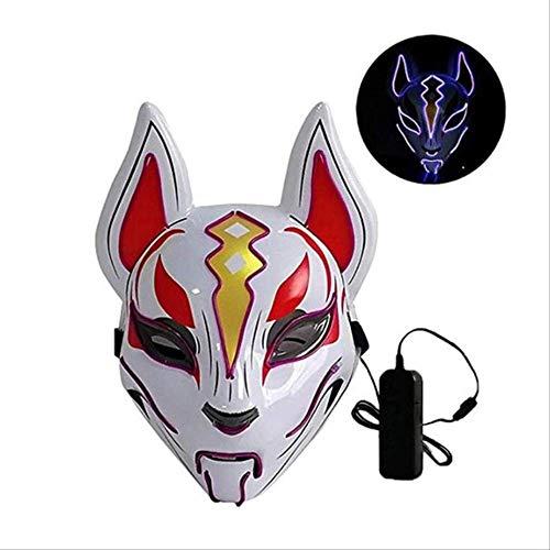 PMWLKJ Fox Máscara de neón de cara completa Máscara de luz LED Máscara de fiesta de Halloween Máscaras Máscara de terror que brilla en la oscuridad Máscara brillante Como se muestra D