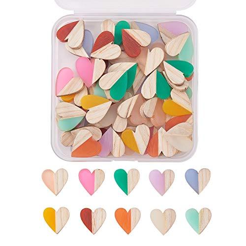 Stiesy 50 cuentas de resina y madera con forma de corazón de resina y cabujones de madera, para álbumes de recortes, adornos y clips de pelo para niños, 15 x 14,5 x 3 mm