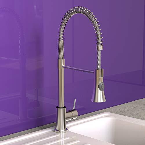 EISL Küchenarmatur LEON Wasserhahn Küche mit ausziehbarer Geschirrbrause, Spültischarmatur 360° schwenkbar, energiesparender Einhebelmischer NI183ESCRNI-PR, Spiralfeder Nickel, Hochdruck