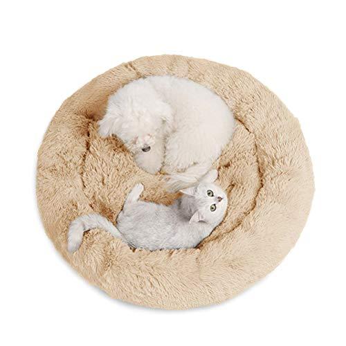 JUZIPS - Cama para mascotas con forma de dona de peluche, para alivio ortopédico y sueño mejorado, para perros pequeños, medianos y gatos, parte inferior antideslizante, beige, 120 cm