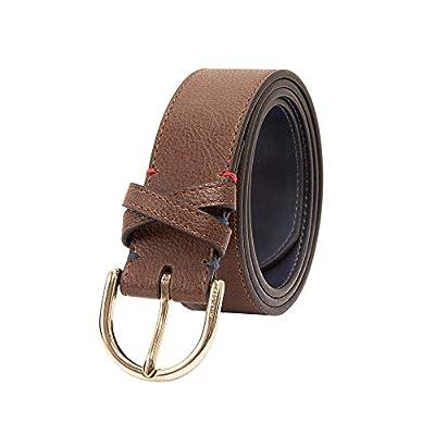 Tommy Hilfiger Women's 100% Leather Fashion Belt, Brown, Large