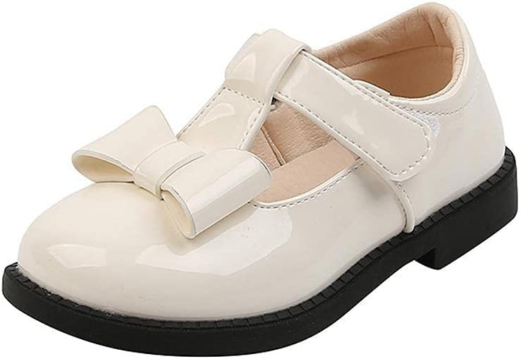 NFRADFM Children's Leather Shoes Fashion Solid Color Flats Footwears for Girls Kids Princess Party Shoes