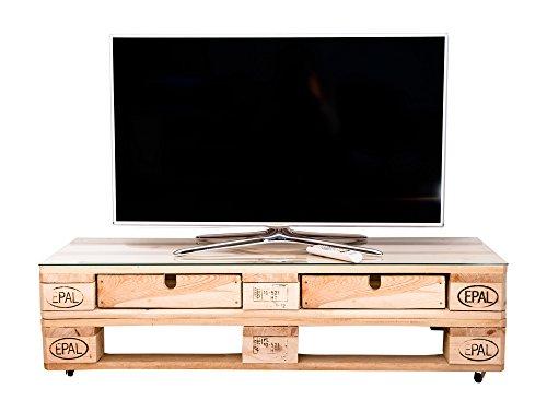 relaxedLiving Fernsehtisch aus Paletten | rustikal | mit Rollen | Palettenmöbel | abgeschliffen | Rolltisch | Europaletten (ohne Schubladen, mit Glasscheibe)