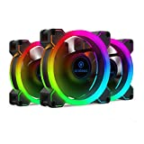 Anidees AI Aureola Duo 80mm 3pcs RGB PWM Dual Light Loop Fan Compatible con 5V 3pins direccionable RGB Header, para PC Case Fan, Cooler Fan w/Remote(AI-AR-DUO8)
