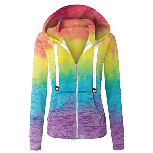 Damen Tie Dye Mantel Langarm Hoodie Dünnes Jacken, Farbverlauf Sweatshirt Outwear Oberbekleidung mit mit Taschen und Reissverschluss