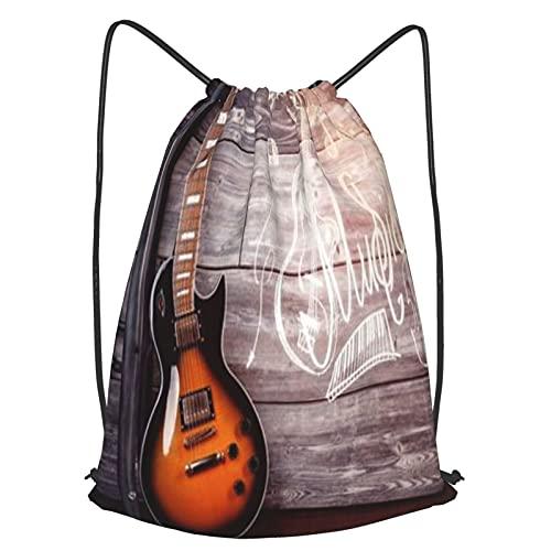 Mochilas de Cuerdas Unisex,Guitarra eléctrica en el interior de una casa de madera apoyado en la silla,Impermeable Mochila con Cordón,adulto Niños exterior Mochilas Casual,yoga Bolsas de Gimnasia