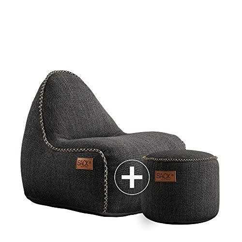 SACKit - RETROit Cobana Junior Grey - Grau Indoor/Outdoor Sitzsack mit Hocker für Kinder. Sessel mit Lehne. Für das Kinderzimmer oder Gaming im Jugendzimmer