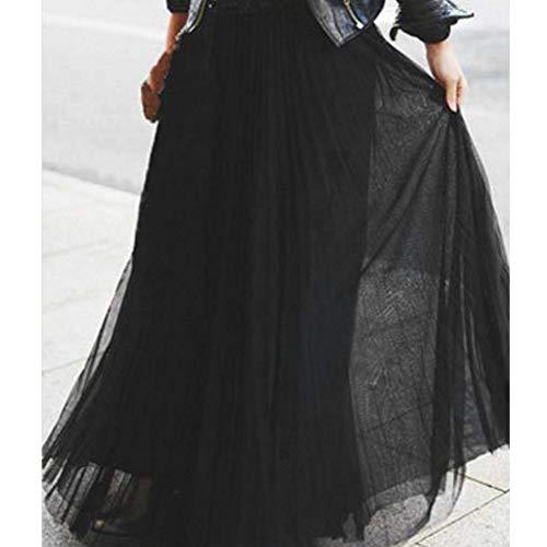 Skang Mujer Falda Larga de Tul Maxi Cintura AltaPlisada Elástica de Gasa Tutu Malla Vestidos de Noche Fiesta Elegante
