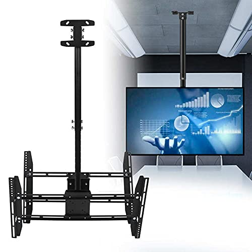 TANGIST TV Stand Doble Pantalla TV Montaje de Techo Perspago de Soporte para 37-70 Pulgadas TV retráctil Ajustable Altura Monitor de Altura