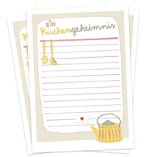 52 Rezeptkarten zum selberschreiben - Ein Küchengeheimnis - A6 Rezeptepostkarten aus Recylingpapier, Hochzeitsspiel oder Partyspiel, Vintage Retro Design, Beige Weiß Gelb Rot