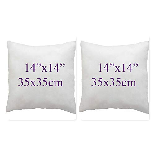 Set of 2- Bounce Back Virgin Hollow Fiber Cushion Pads Fillers Inners Inserts pillow square pads- Non allergenic- Washable- Available in 14'16'18'20'22'24'26'28'30' (14x14'(35x35cm))