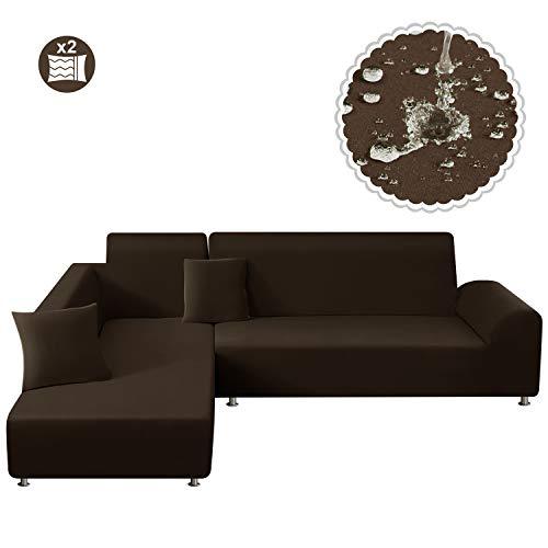 TAOCOCO Funda para sofá Funda elástica Impermeable para Juego de 2 en Forma de L con Funda de Almohada de 2 Piezas (3 plazas + 3 plazas, Marrón)
