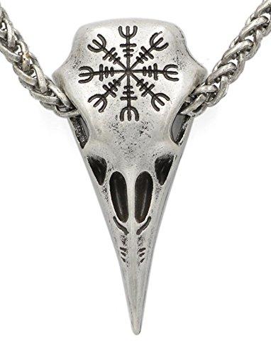 Viking Wikinger Kompass Krähen-König Helm der Ehrfurcht Runen Anhänger Halskette Antik Silber
