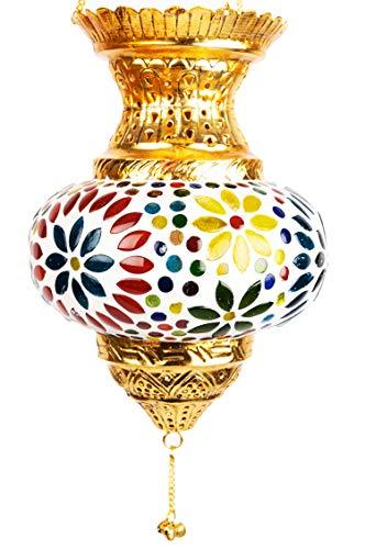 Orientalisches Mosaik Windlicht Hängewindlicht Glas Alaa Gold 21 cm groß | Orientalische Glas Teelichthalter mit Henkel orientalisch | Marokkanische Windlichter hängend als Hängewindlichter