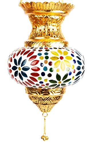 Oosterse mozaïek windlicht hangdraad glas Alaa zilver 21 cm groot | Oosterse glazen theelichthouder met handvat oosterse | Marokkaanse lantaarns hangend als hanglampjes oosters 21 x 14 cm goud, meerkleurig.