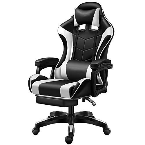 ZXN RTU Relax Sillón de juego cómodo y seguro estilo carreras ergonómico con reposapiés PU cuero reclinable oficina Racing Gaming silla negro y blanco, 24.5 pulgadas