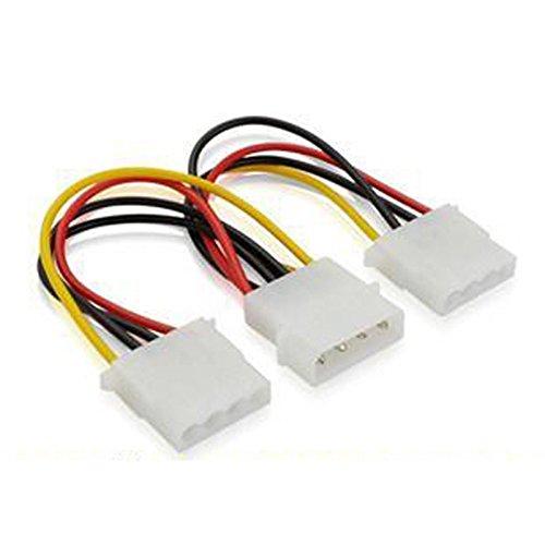 K15 15cm SATA Kabel IDE Strom Adapter 4pol Molex Stecker an 2X 4pol Molex Buchse, 4-poliger männlicher 5.25-Zoll-Stromanschluss, 2X 4-poliger Strombuchse, Länge: ca. 15cm