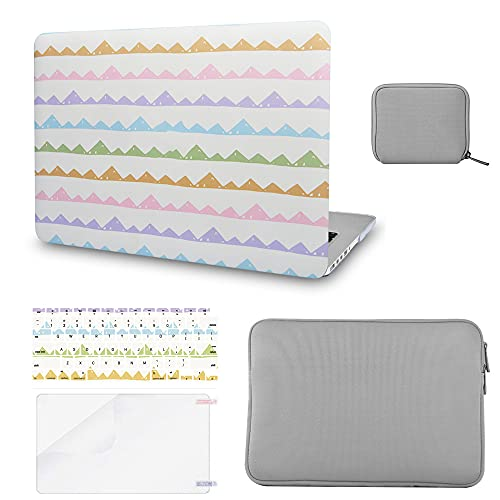 """Luvcase Laptop Case Compatible with MacBook Pro 13"""" +/- Touch Bar A2338 M1/A2251/A2289/A2159/A1989/A1706/A1708 Hard Shell Cover,Slim Sleeve,Pouch,Keyboard Cover,Screen Protector(Colourful Wavy)"""
