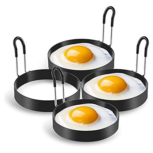 RoserRose Set di 4 Anelli per Uova in Acciaio Inossidabile, Stampi per Uova Fritte Antiaderente, Stampo per Pancake, Anelli per Uova Fritte con Manici Pieghevoli, per Pancake, Padelle, Uova