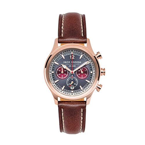 Jack Mason Women's Chronograph Watch Nautical Dark Brown Italian Leather Strap JM-N202-008
