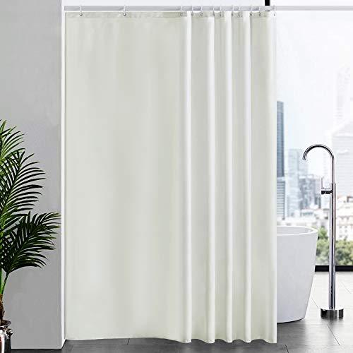 Duschvorhang Überlänge für Badezimmer, Badvorhang Anti-schimmel Textil für Badewanne, Vorhang aus Stoff Antibakteriell Waschbar, mit 12 Haken Extra Groß Beige 200x240cm.