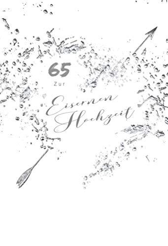 Eiserne Hochzeit Karte, Karte zur Eisernen Hochzeit, Karte zum 65. Hochzeitstag, im Format DIN B6 176 x 125 mm, inkl. Umschlag, Mot.: Herz