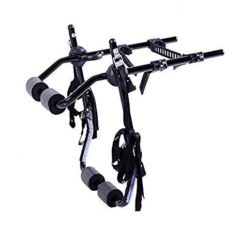 WVIVW Portabicicletas Porton Trasero Universal 4 Bicis 2 Bicicletas Portabicis para Coche con Correas Plegable Porta-Bicis Auto Soporte de Bici baca para Bicicletas Bike Acero Carga 60kg