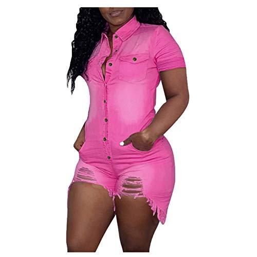 Salopette da donna in denim, pantaloni lunghi in denim, stile vintage Colore: rosa. M