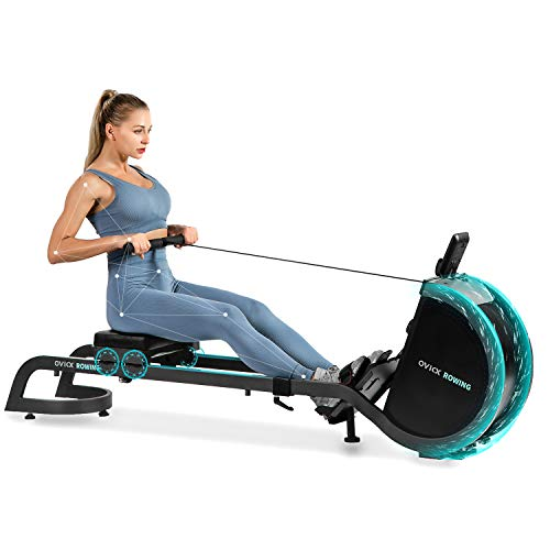 OVICX Magnetic Rowing Machine for Home Use Foldable Indoor Rower Exercise Equipment for Whole Body Workout with Double Track Black
