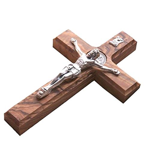 10' Wall Wood Cross St. Saint Benedict & Medal Holy Land Handmade Silver Plated Crucifix