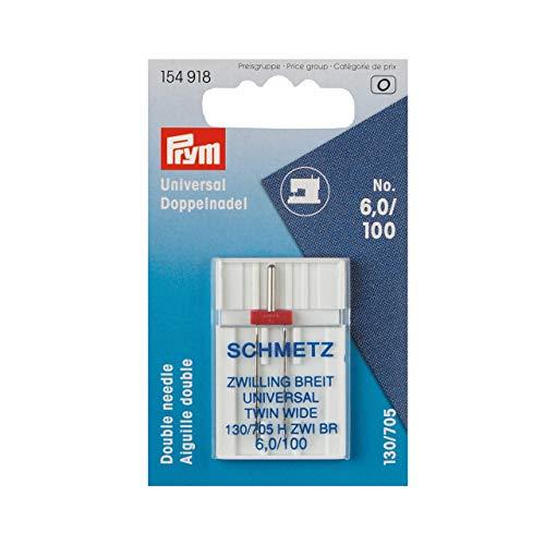 Prym Schmetz 154918 Doppel-Nähmaschinennadel Universal, 130/705, 100/6,0mm, silberfarbig, No
