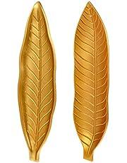 Garneck 2 parça Altın Seramik İnce Yaprak Şekilli Mücevher Tepsisi Düzenleyici Dekoratif Mücevher Tabağı Masaüstü Süsü Yüzük Kolye Bilezik Küpe için