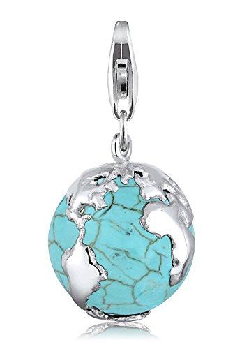 Elli Charm Erdball Globus Syn. Howlith Türkis 925 Silber