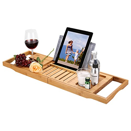 LANGRIA Bathtub Caddy Wood Bamboo Bath Tray with Wine and Book Holder Extending Sides Non-Slip Rubber Base, HIGH-Class, Natural Bamboo Color