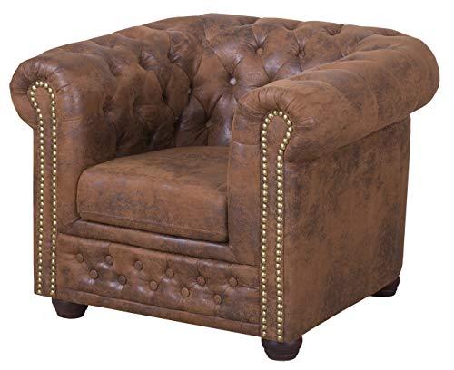 ROVERTI Sessel Chesterfield Fresco 1er Sitzer B94 x T 86 cm x H 72 cm, Fußhöhe 9 cm | Loungesessel freistehend, Sitztiefe 54 cm, hochwertige Wellfederung, strapazierfähige Polsterbezüge