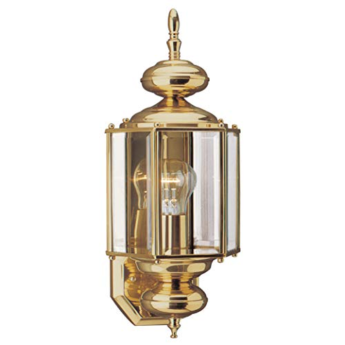Sea Gull Lighting 8510-02 Classico One-Light Outdoor Wall Lantern Outside Fixture, Polished Brass Finish
