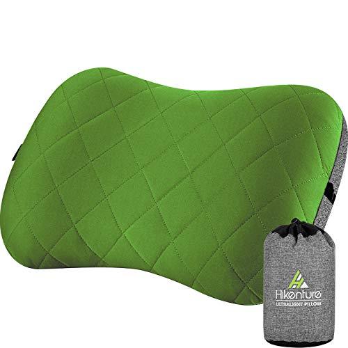 HIKENTURE Aufblasbares Camping/Reise Kissen mit Abziehbarem Kissenbezug, Ergonomisches Kopfkissen, Komfortables Nackenkissen für Reise/Outdoor, Inflatable Travel Neck Pillow(Grün)…
