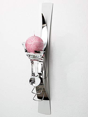 Formano Wandleuchter Kerzenhalter mit Glaseinsatz für 1 Kerze, Höhe 42 cm, 1-flammig, weiß-silber (ohne Kerze)