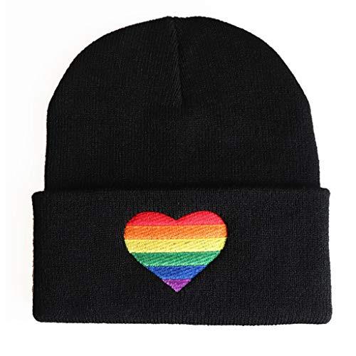 Qintaiourty Strickmütze, für Herren und Damen, Winter, Herbst, Warm, Regenbogen-Herz-Stickerei, Strickmütze Pride LGBT Beanie Cap Gr. One size, Schwarz