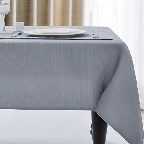 Luxury Stripe Fabric Table Cloths, Heavy Weight Classic 100% Polyester Tablecloths, No Iron, Water Resistance Soil Resistant Holiday Table Cover for Dining Room,60 Inch x 104 Inch Oblong,Silver Grey