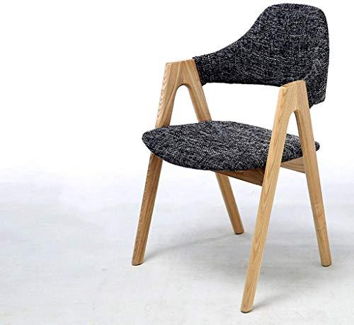 Massief houten kruk Thuis stoel Study bureaustoel Single eettafel en stoelen Student slaapkamer fauteuil Simpel en stijlvol zachte ontlasting (Kleur: Grijs, Maat: 52cm * 45cm * 80)