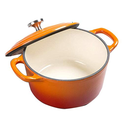Auflauf, Geschirrauflaufformen aus Gusseisen Runde Casserole heizbar Emaille-Topf Multi-Funktions-Pot Backformen (Farbe: Blau, Größe: 16 * 11,5 * 8,5 cm) FDWFN ( Color : Orange , Size : 18*14.2*9cm )