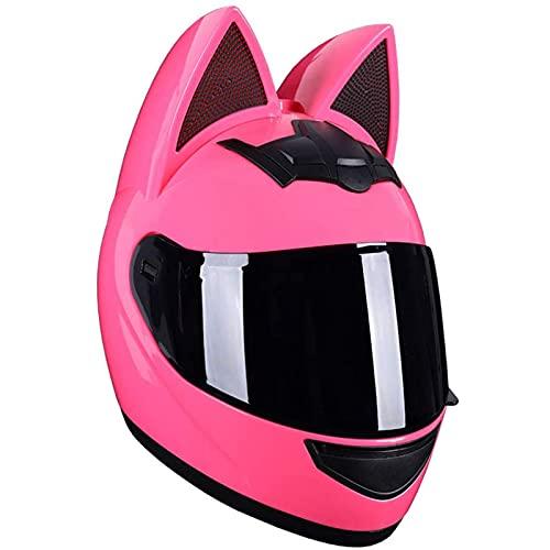 Casco de motocicleta Cat Ear Hombres y mujeres Cool Cute Full Face Cat Casco Certificación ECE Viseras modulares abatibles estándar Casco de motocross, M-XL,E,XL