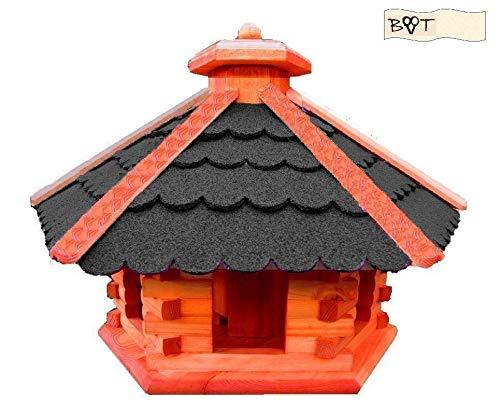 Vogelhaus, Vogelvilla XXXL Vöglehus Vogelhaus, aus Holz mit Silo Holz mit Dach schwarz anthrazit B60atMS mit Ständer - 2