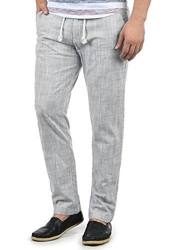 Blend Bonavo Herren Leinenhose Sommerhose Lange Stoffhose In Leinen-Optik Aus 100% Baumwolle Regular Fit, Größe:3XL, Farbe:Granite (70147)