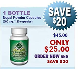 Freeze Dried Mountain Grown Nopal Cactus Powder Capsules (Prickly Pear) 500 MG / 120 Capsules