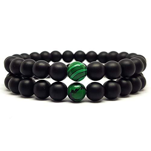 KARDINAL WEIST pulsera de ónix malaquita, cuentas de piedras preciosas, pulsera de la amistad, pulsera de pareja, chakra brazalete (2 - doble paquete/elástico)