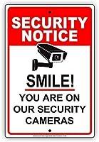 あなたが私たちの防犯カメラのセキュリティ通知プレートアルミニウムにいる笑顔 金属板ブリキ看板注意サイン情報サイン金属安全サイン警告サイン表示パネル