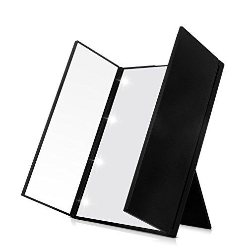 Espejo de tocador plegable con luz LED, 8 LED iluminado espejo de maquillaje cosmético de mesa inalámbrico espejo