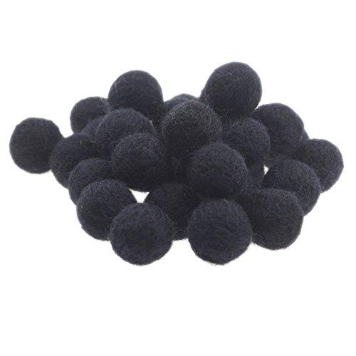 Zasy 20mm Foam Filled Needle Wool Felt Balls DIY Garland Home Decor Fashion Jewelry Beads (Black)